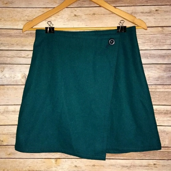de9528b4c3 LOFT Skirts | New Teal Felted Wool Blend Mini Wrap Skirt | Poshmark